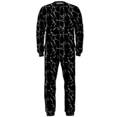 Black And White Textured Pattern Onepiece Jumpsuit (men)