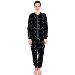 Black And White Textured Pattern Onepiece Jumpsuit (ladies)