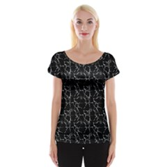 Black And White Textured Pattern Cap Sleeve Tops