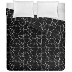 Black And White Textured Pattern Duvet Cover Double Side (california King Size)