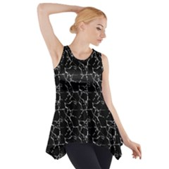 Black And White Textured Pattern Side Drop Tank Tunic
