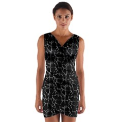 Black And White Textured Pattern Wrap Front Bodycon Dress