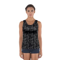 Black And White Textured Pattern Sport Tank Top