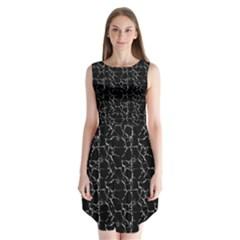 Black And White Textured Pattern Sleeveless Chiffon Dress