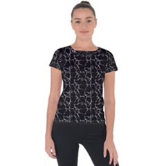 Black And White Textured Pattern Short Sleeve Sports Top