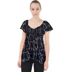 Black And White Textured Pattern Lace Front Dolly Top