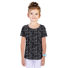 Black And White Textured Pattern Kids  One Piece Tee
