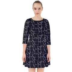 Black And White Textured Pattern Smock Dress