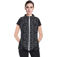 Black And White Textured Pattern Women s Puffer Vest