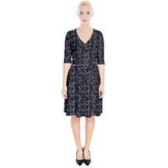 Black And White Textured Pattern Wrap Up Cocktail Dress