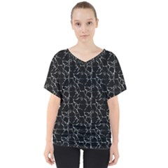 Black And White Textured Pattern V Neck Dolman Drape Top
