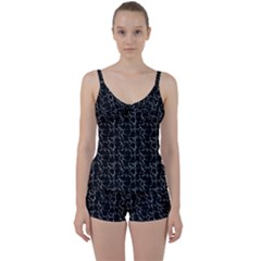 Black And White Textured Pattern Tie Front Two Piece Tankini