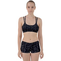 Black And White Textured Pattern Women s Sports Set