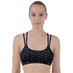 Black And White Textured Pattern Line Them Up Sports Bra