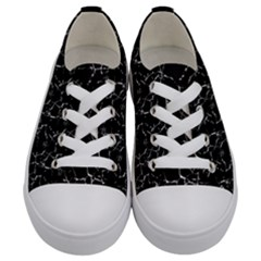 Black And White Textured Pattern Kids  Low Top Canvas Sneakers
