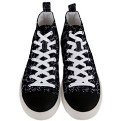Black And White Textured Pattern Men s Mid Top Canvas Sneakers