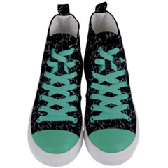 Black And White Textured Pattern Women s Mid Top Canvas Sneakers