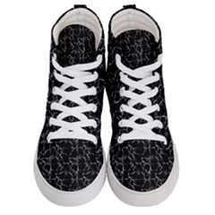 Black And White Textured Pattern Women s Hi Top Skate Sneakers