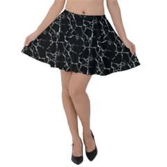 Black And White Textured Pattern Velvet Skater Skirt