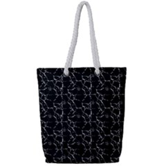 Black And White Textured Pattern Full Print Rope Handle Tote (small)