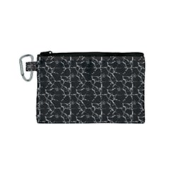 Black And White Textured Pattern Canvas Cosmetic Bag (small)