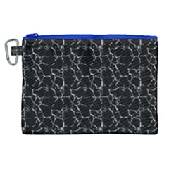 Black And White Textured Pattern Canvas Cosmetic Bag (xl)