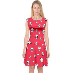 Panda Pattern Capsleeve Midi Dress