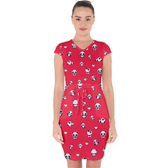 Panda Pattern Capsleeve Drawstring Dress