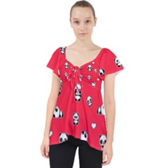 Panda Pattern Lace Front Dolly Top