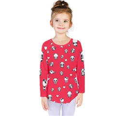 Panda Pattern Kids  Long Sleeve Tee