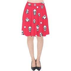 Panda Pattern Velvet High Waist Skirt