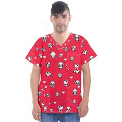 Panda Pattern Men s V Neck Scrub Top