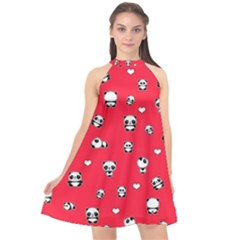 Panda Pattern Halter Neckline Chiffon Dress