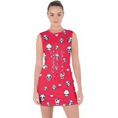 Panda Pattern Lace Up Front Bodycon Dress