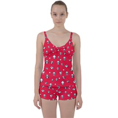 Panda Pattern Tie Front Two Piece Tankini
