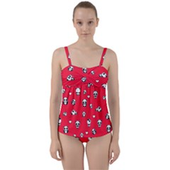 Panda Pattern Twist Front Tankini Set
