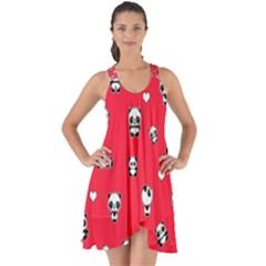Panda Pattern Show Some Back Chiffon Dress