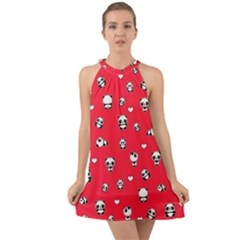 Panda Pattern Halter Tie Back Chiffon Dress