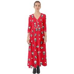 Panda Pattern Button Up Boho Maxi Dress