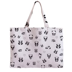 Panda Pattern Zipper Mini Tote Bag