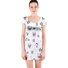 Panda Pattern Short Sleeve Bodycon Dress