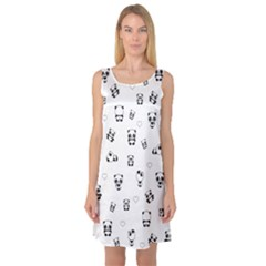 Panda Pattern Sleeveless Satin Nightdress