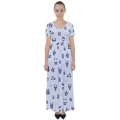 Panda Pattern High Waist Short Sleeve Maxi Dress