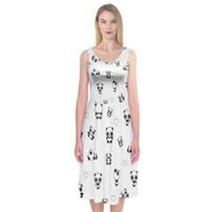 Panda Pattern Midi Sleeveless Dress