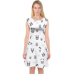 Panda Pattern Capsleeve Midi Dress