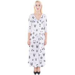 Panda Pattern Quarter Sleeve Wrap Maxi Dress