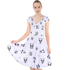 Panda Pattern Cap Sleeve Front Wrap Midi Dress