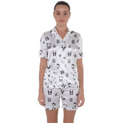 Panda Pattern Satin Short Sleeve Pyjamas Set