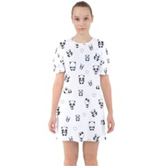 Panda Pattern Sixties Short Sleeve Mini Dress