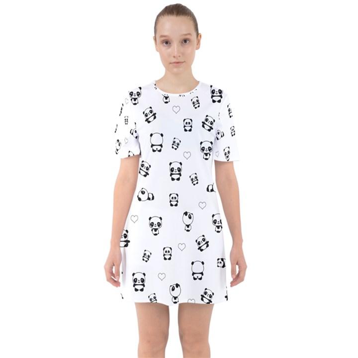 Panda pattern Sixties Short Sleeve Mini Dress